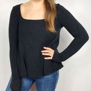 FREE PEOPLE | Black Scoop Neck Soft Sweater XS